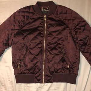 Express burgundy quilted bomber jacket
